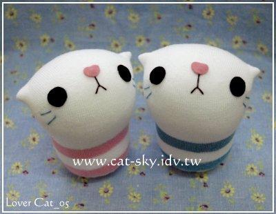 呆呆貓系列-粉嫩版情侶貓娃娃lovercat_05