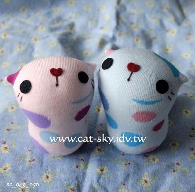 呆呆貓-紅粉圓和藍粉圓