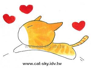 小P在2002年幫圓圓畫了一系列的小貓插畫,這是一張是畫圓圓喜歡趴趴造的樣子.也是小P製作趴趴貓的原形.