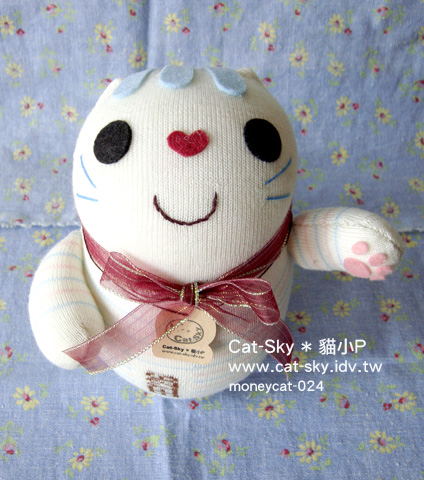 招財貓 粉嫩淡藍條紋微笑臉  給你好人緣~