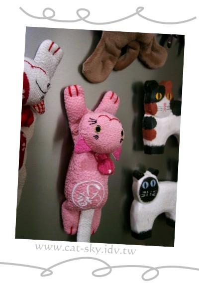 冰箱上的粉紅布貓磁鐵