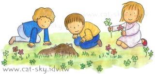 小P畫的插圖-三個小朋友在玩耍!!!