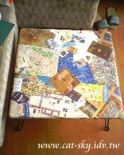 地圖票卡拼貼小桌-小熊製作