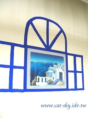 希臘風景油畫變身窗框-小熊製作